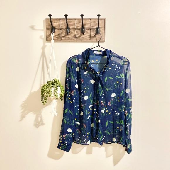 A Dip of Darling Tops - A Dip of Darling | Navy Sheer Floral Blouse